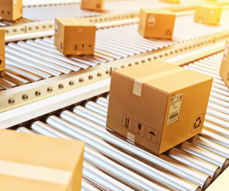 packages on conveyor belts